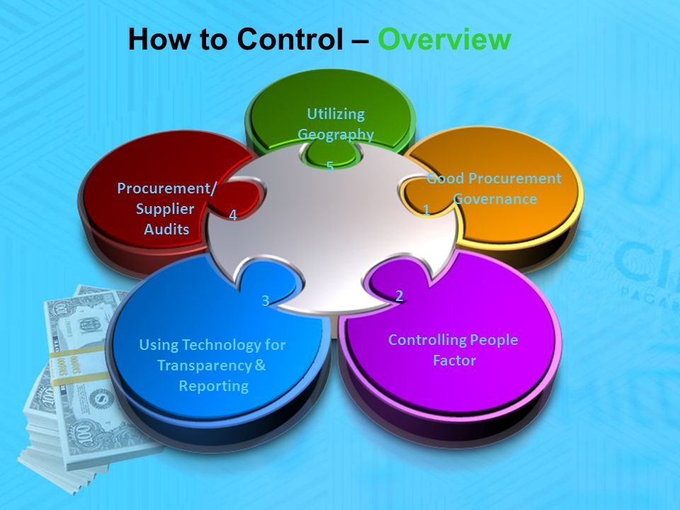 How to Control – Overview Good Procurement Governance Controlling People Factor Using Technology for Transparency & Reporting Procurement/ Supplier Audits Utilizing Geography 1 3 4 5 2