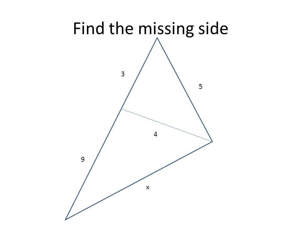 Find the missing side 5 3 4 9 x