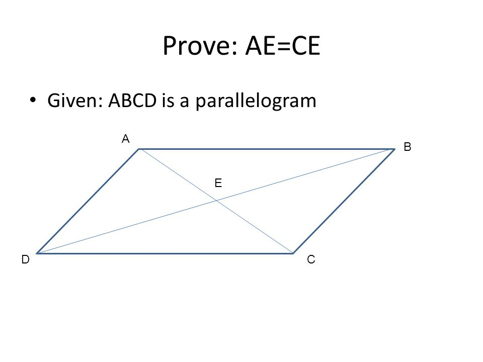 Prove: AE=CE Given: ABCD is a parallelogram A B DC E