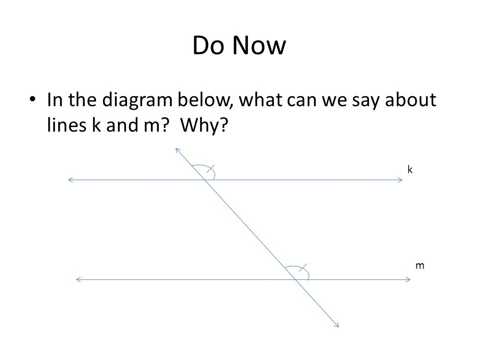 Do Now In the diagram below, what can we say about lines k and m? Why? k m