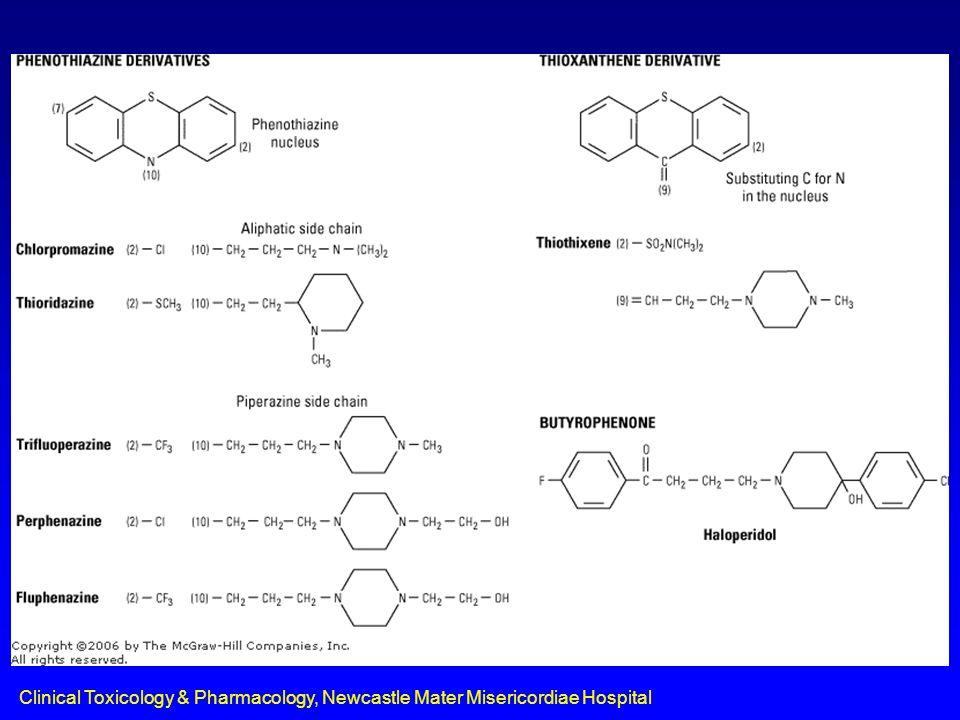 Traditional Antipsychotics Phenothiazines –chlorpromazine (Chlorpromazine Mixture, Chlorpromazine Mixture Forte, Largactil) –fluphenazine (Anatensol, Modecate) –flupenthixol (Fluanxol) –pericyazine (Neulactil) –pimozide (Orap) –thioridazine (Aldazine) –trifluoperazine (Stelazine) –zuclopenthixol (Clopixol) Butyrophenones –droperidol (Droleptan Injection) –haloperidol (Haldol, Serenace)