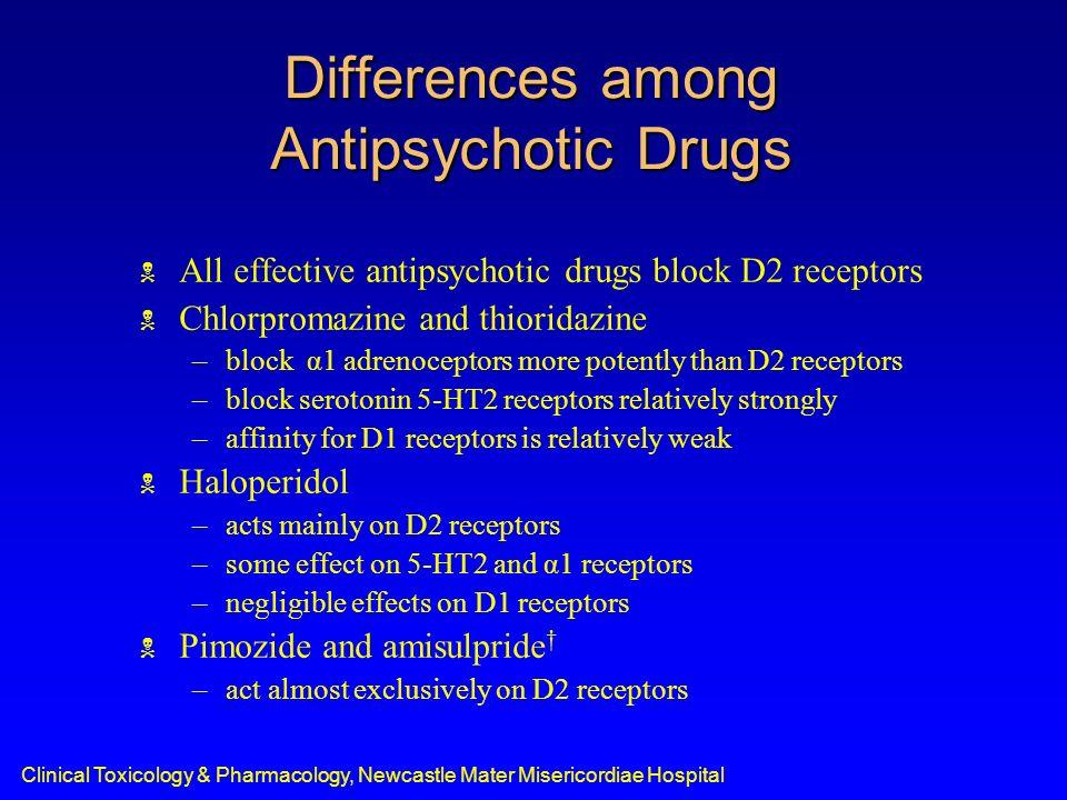 Differences among Antipsychotic Drugs All effective antipsychotic drugs block D2 receptors Chlorpromazine and thioridazine –block α1 adrenoceptors mor