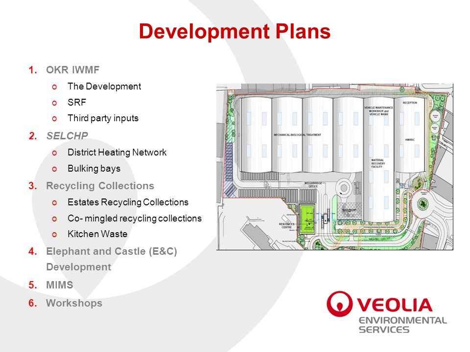 Development Plans 1.OKR IWMF oThe Development oSRF oThird party inputs 2.SELCHP oDistrict Heating Network oBulking bays 3.Recycling Collections oEstat