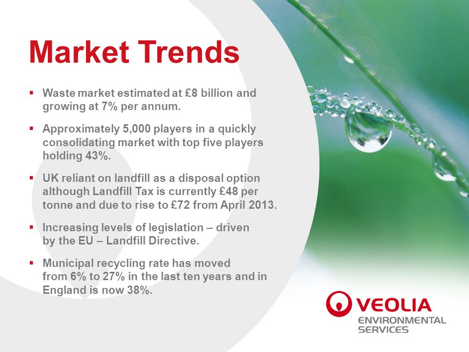 Market Trends Waste market estimated at £8 billion and growing at 7% per annum. Approximately 5,000 players in a quickly consolidating market with top