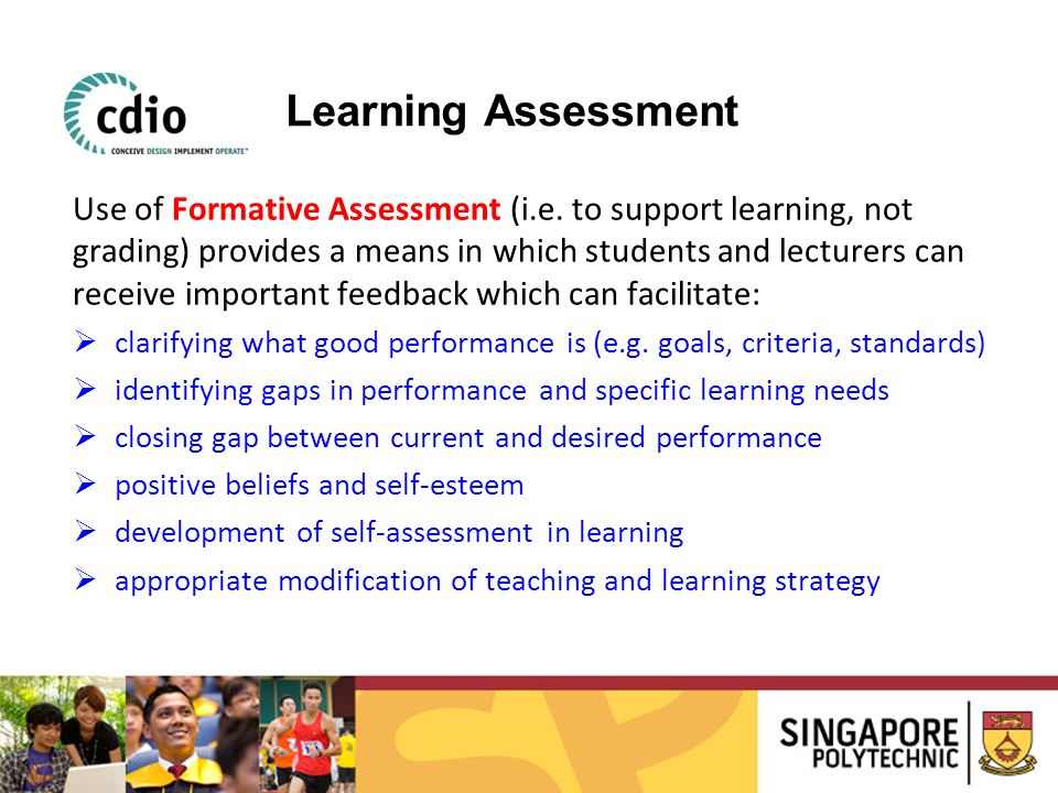 Use of Formative Assessment (i.e. to support learning, not grading) provides a means in which students and lecturers can receive important feedback wh