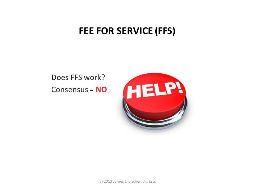 FEE FOR SERVICE (FFS) Does FFS work Consensus = NO (c) 2013 James J. Eischen, Jr., Esq.