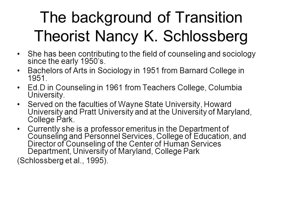 History of Schlossbergs Transition Theory Schlossberg developed her theory by collaborating with others and documenting findings in books.