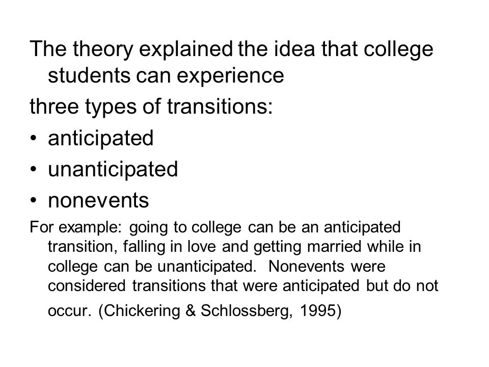 The theory explained the idea that college students can experience three types of transitions: anticipated unanticipated nonevents For example: going