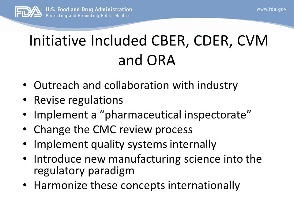 Initiative Included CBER, CDER, CVM and ORA Outreach and collaboration with industry Revise regulations Implement a pharmaceutical inspectorate Change