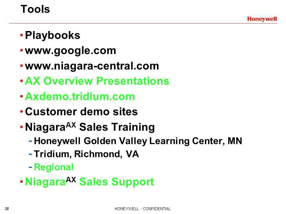 38HONEYWELL - CONFIDENTIAL Playbooks www.google.com www.niagara-central.com AX Overview Presentations Axdemo.tridium.com Customer demo sites Niagara A