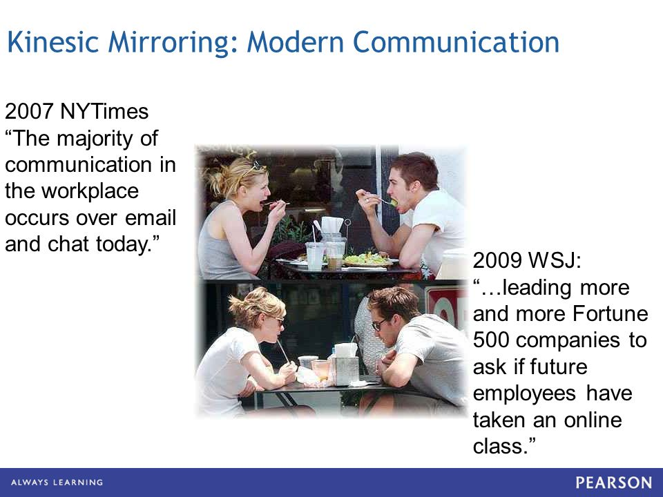 Kinesic Mirroring: Modern Communication 2007 NYTimes The majority of communication in the workplace occurs over  and chat today.