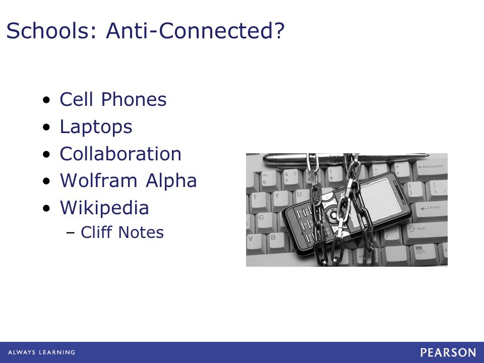 Schools: Anti-Connected Cell Phones Laptops Collaboration Wolfram Alpha Wikipedia –Cliff Notes