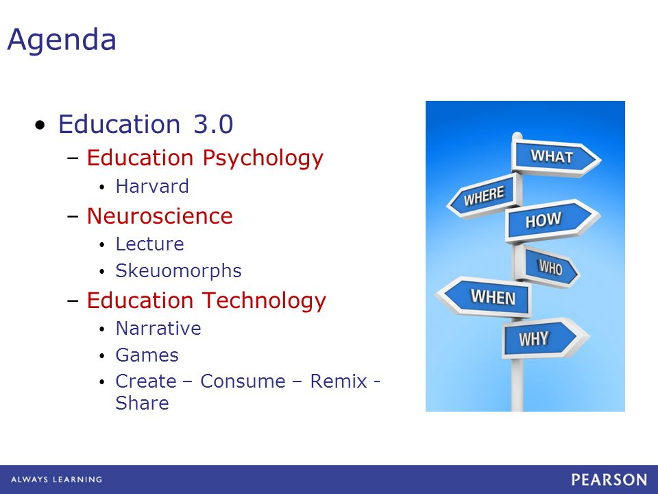 Agenda Education 3.0 –Education Psychology Harvard –Neuroscience Lecture Skeuomorphs –Education Technology Narrative Games Create – Consume – Remix - Share