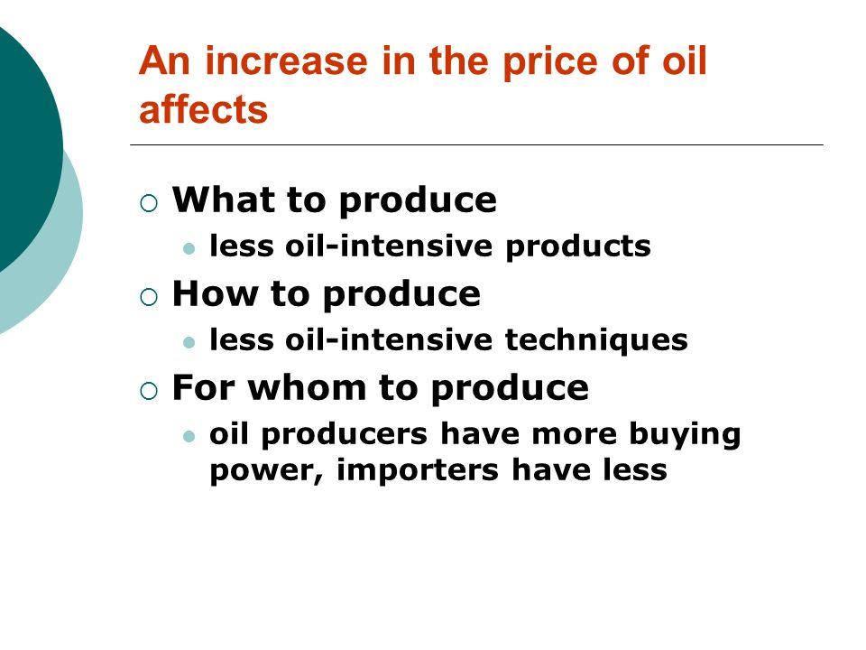 An increase in the price of oil affects What to produce less oil-intensive products How to produce less oil-intensive techniques For whom to produce o