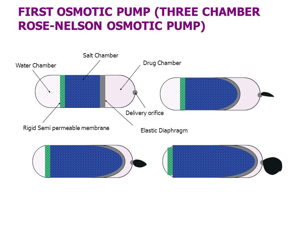 FIRST OSMOTIC PUMP (THREE CHAMBER ROSE-NELSON OSMOTIC PUMP) Drug Chamber Elastic Diaphragm Salt Chamber Rigid Semi permeable membrane Water Chamber De