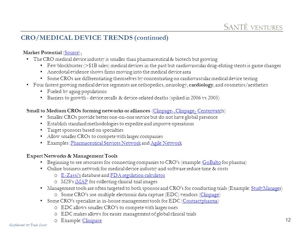 Confidential & Trade Secret 11 CRO/MEDICAL DEVICE TRENDS CRO Industry Trends (Source) 1Source Undercurrent of interest among private equity firms in acquiring CROs Possible emerging trend: Long-term partnering arrangements between CROs & recruiting firms Number of CROs has reached 1,100 despite continued consolidation (Source) 2Source Medical Device Trends (Depends on who you are talking to) FDA leadership on role of outsourcing: (Source) 3Source Outsourcing requires more international collaboration on inspections, enforcement, and compliance policy issues.