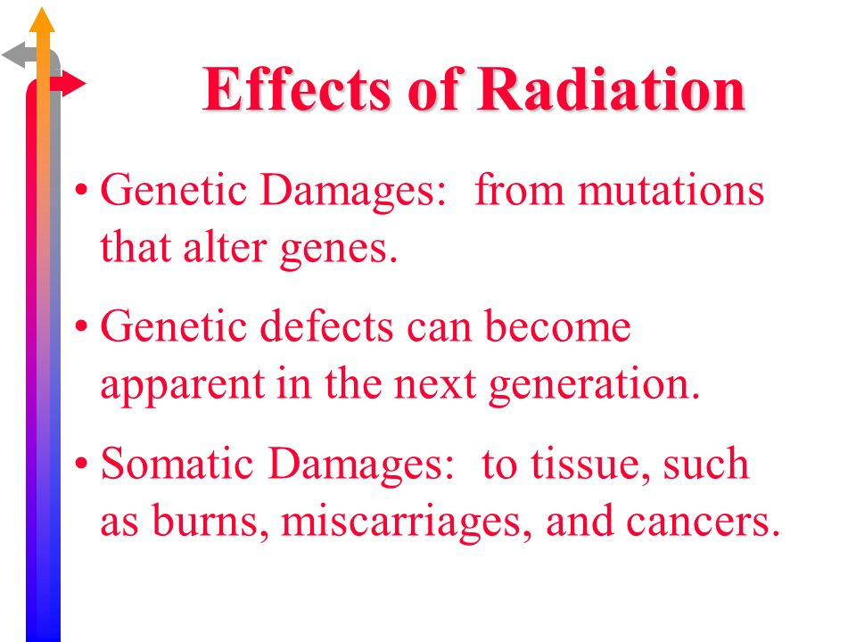Genetic Damages: from mutations that alter genes. Genetic defects can become apparent in the next generation. Somatic Damages: to tissue, such as burn