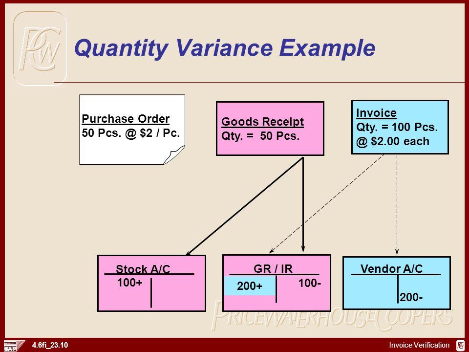 Invoice Verification 4.6fi_23.10 Goods Receipt Qty. = 50 Pcs. Purchase Order 50 Pcs. @ $2 / Pc. Invoice Qty. = 100 Pcs. @ $2.00 each Stock A/C GR / IR