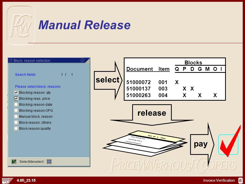 Invoice Verification 4.6fi_23.15 Format Usage Allowed Values Format Usage Allowed Values ---- ------ --- ------- ------ -- --- -- - ---- Blocks Docume