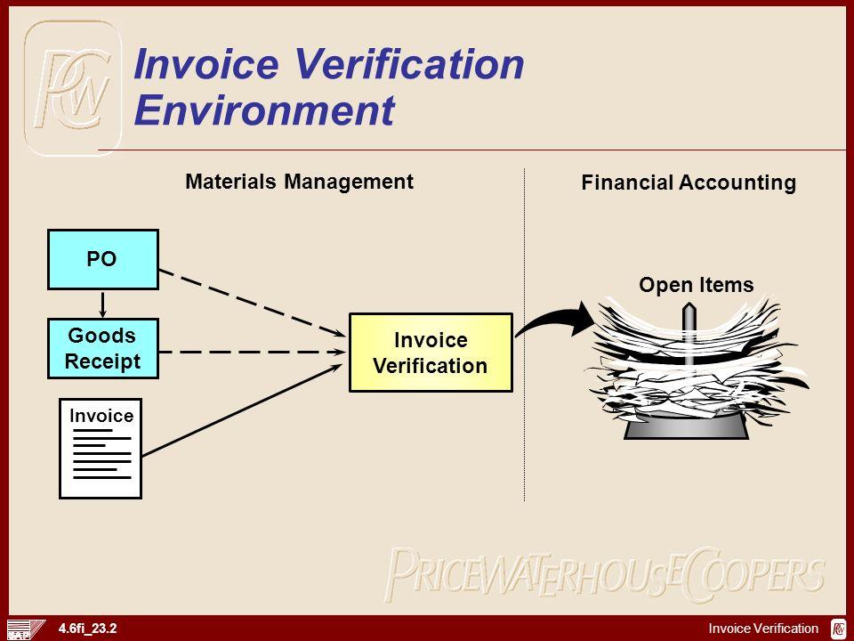 Invoice Verification 4.6fi_23.2 Goods Receipt PO Invoice Verification Invoice Open Items Materials Management Financial Accounting Invoice Verificatio