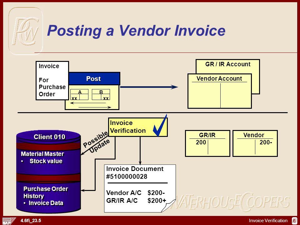 Invoice Verification 4.6fi_23.5 Possible Update GR / IR Account Vendor Account Post A xx B xx Invoice For Purchase Order Invoice Verification Invoice