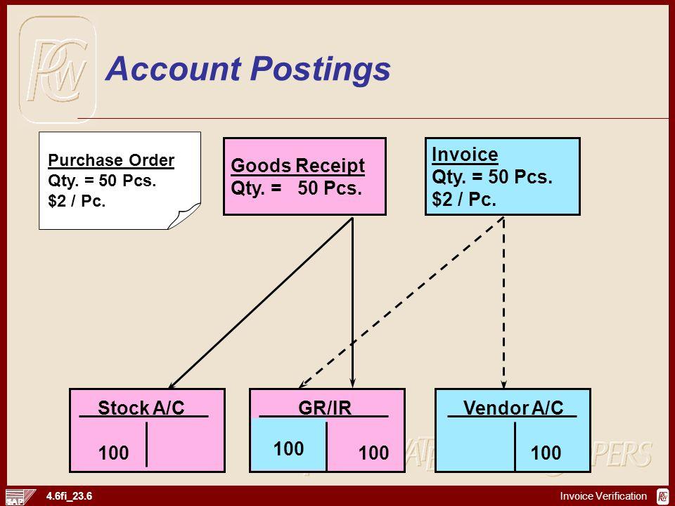 Invoice Verification 4.6fi_23.6 Goods Receipt Qty. = 50 Pcs. Purchase Order Qty. = 50 Pcs. $2 / Pc. Invoice Qty. = 50 Pcs. $2 / Pc. Stock A/C 100 GR/I