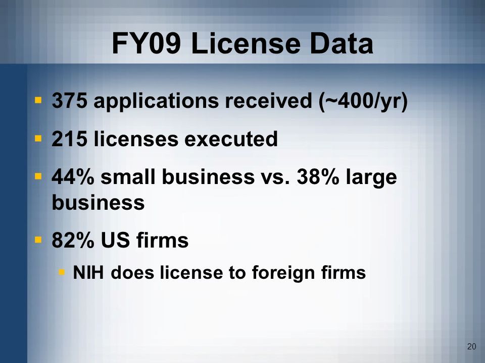 20 FY09 License Data 375 applications received (~400/yr) 215 licenses executed 44% small business vs. 38% large business 82% US firms NIH does license