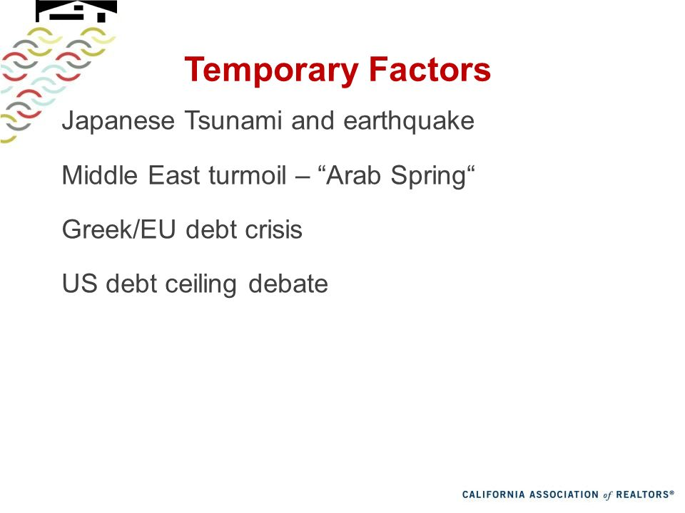 Temporary Factors Japanese Tsunami and earthquake Middle East turmoil – Arab Spring Greek/EU debt crisis US debt ceiling debate