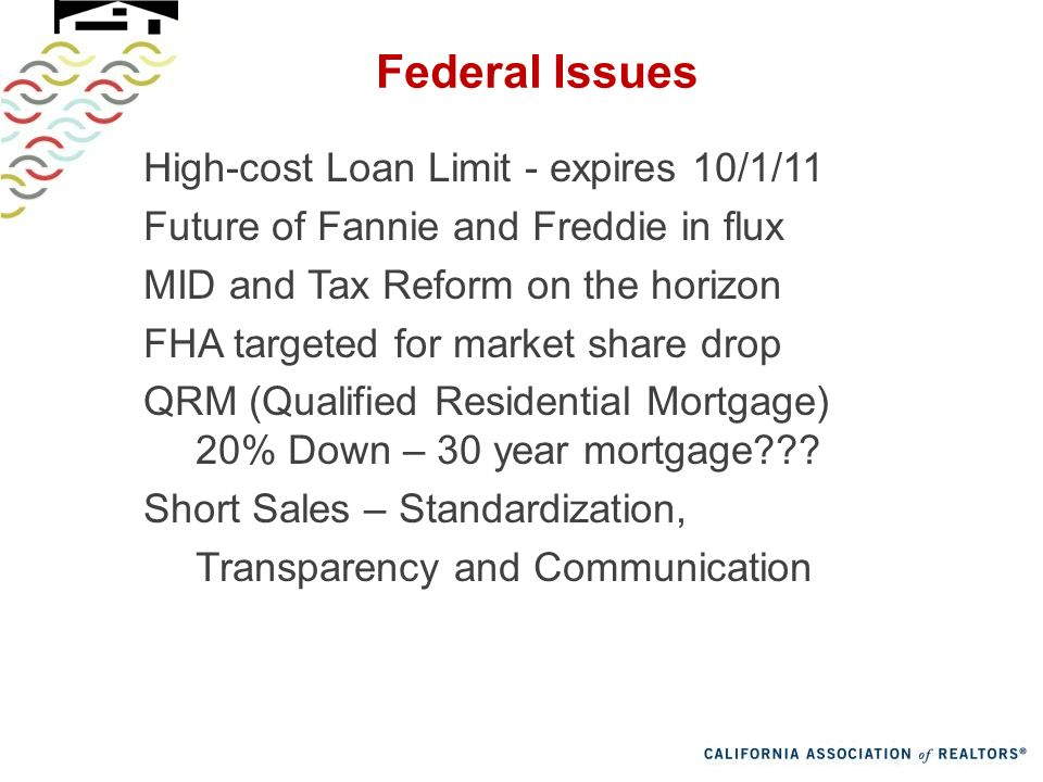 Federal Issues High-cost Loan Limit - expires 10/1/11 Future of Fannie and Freddie in flux MID and Tax Reform on the horizon FHA targeted for market share drop QRM (Qualified Residential Mortgage) 20% Down – 30 year mortgage .