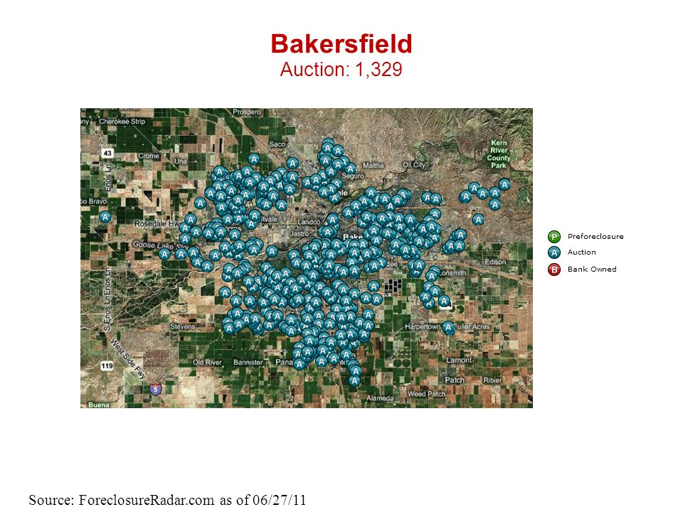 Bakersfield Auction: 1,329 Source: ForeclosureRadar.com as of 06/27/11