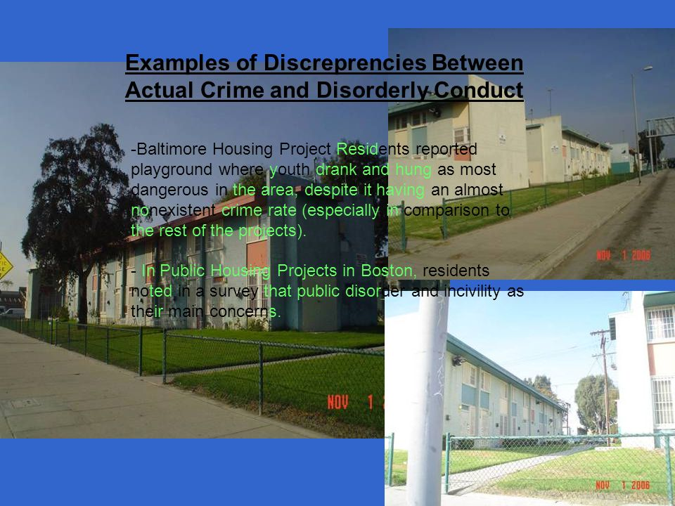Examples of Discreprencies Between Actual Crime and Disorderly Conduct -Baltimore Housing Project Residents reported playground where youth drank and hung as most dangerous in the area, despite it having an almost nonexistent crime rate (especially in comparison to the rest of the projects).