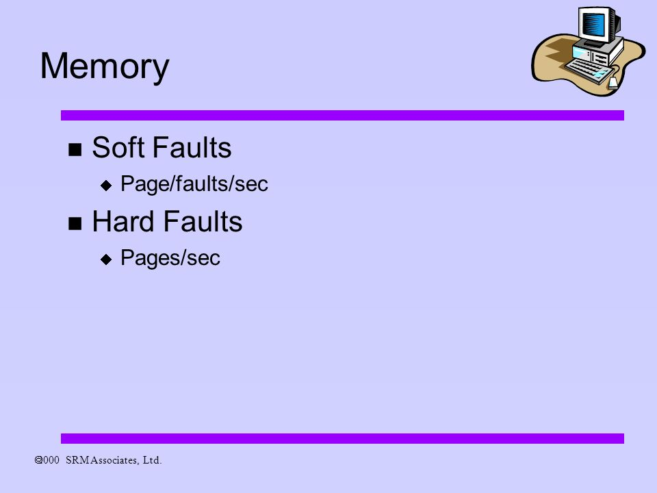 2000 SRM Associates, Ltd. Memory Soft Faults Page/faults/sec Hard Faults Pages/sec