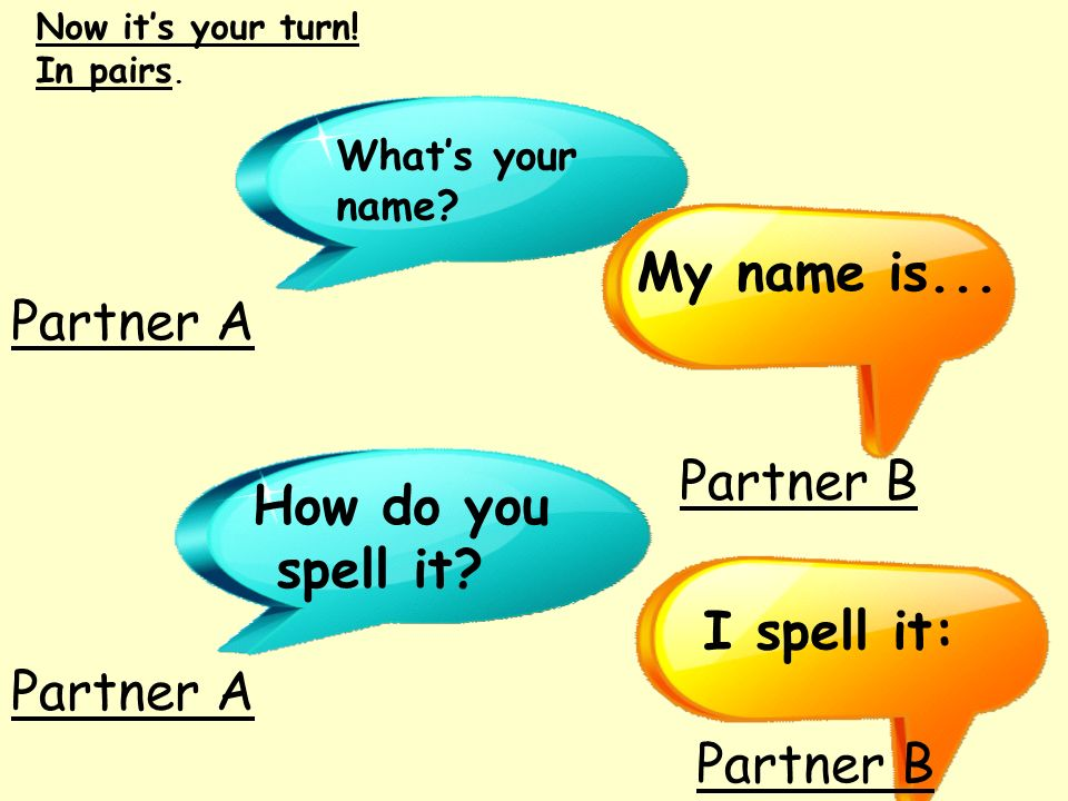 Now its your turn! In pairs. Whats your name? My name is... How do you spell it? I spell it: Partner A Partner B Partner A Partner B
