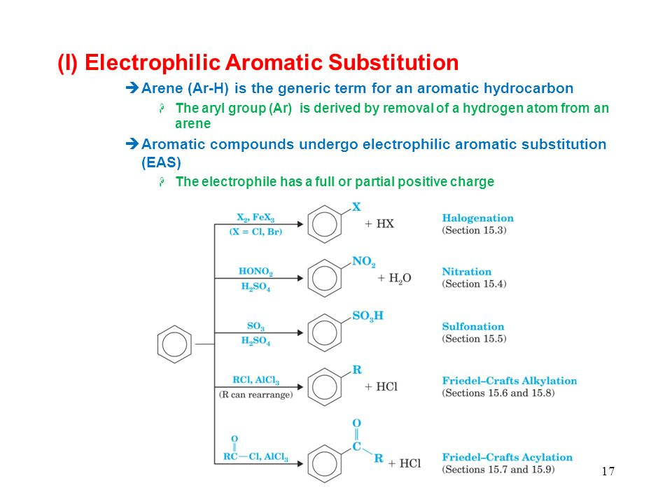17 (I) Electrophilic Aromatic Substitution Arene (Ar-H) is the generic term for an aromatic hydrocarbon The aryl group (Ar) is derived by removal of a hydrogen atom from an arene Aromatic compounds undergo electrophilic aromatic substitution (EAS) The electrophile has a full or partial positive charge