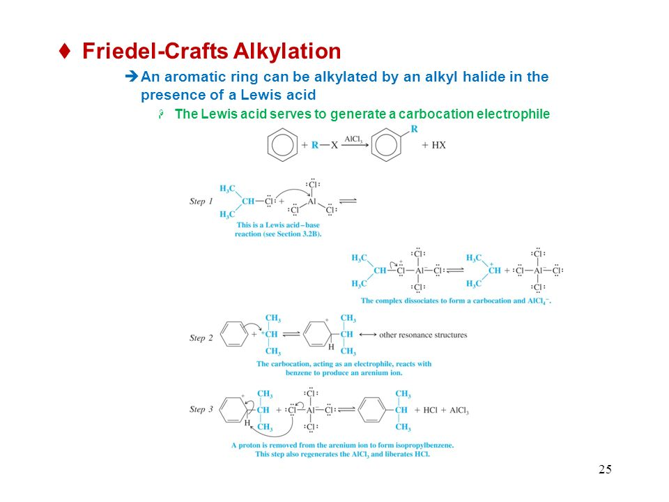 25 Friedel-Crafts Alkylation An aromatic ring can be alkylated by an alkyl halide in the presence of a Lewis acid The Lewis acid serves to generate a carbocation electrophile