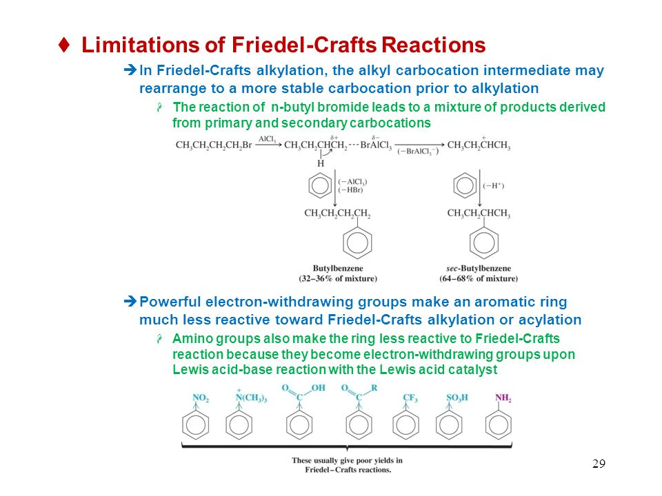 29 Limitations of Friedel-Crafts Reactions In Friedel-Crafts alkylation, the alkyl carbocation intermediate may rearrange to a more stable carbocation prior to alkylation The reaction of n-butyl bromide leads to a mixture of products derived from primary and secondary carbocations Powerful electron-withdrawing groups make an aromatic ring much less reactive toward Friedel-Crafts alkylation or acylation Amino groups also make the ring less reactive to Friedel-Crafts reaction because they become electron-withdrawing groups upon Lewis acid-base reaction with the Lewis acid catalyst