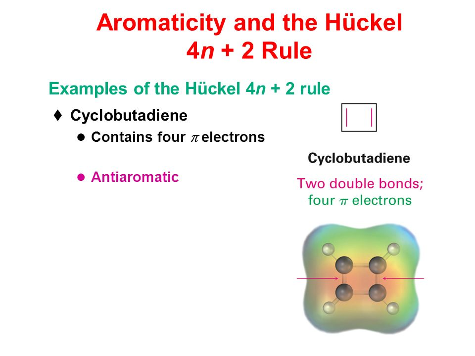 Aromaticity and the Hückel 4n + 2 Rule Cyclobutadiene Contains four electrons Antiaromatic Examples of the Hückel 4n + 2 rule