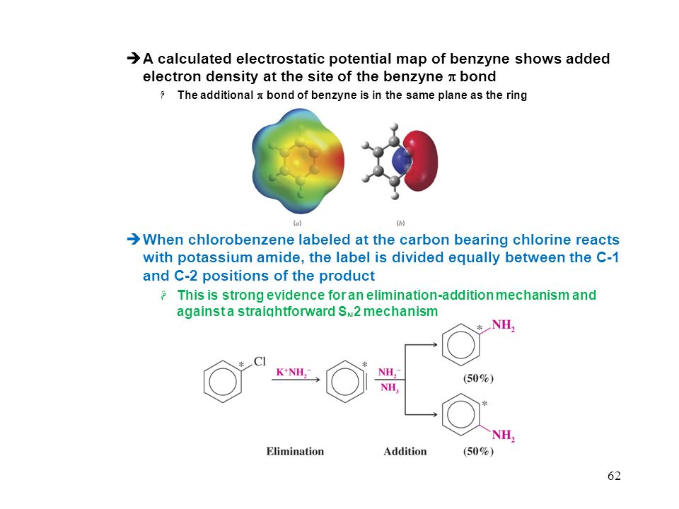 62 A calculated electrostatic potential map of benzyne shows added electron density at the site of the benzyne bond The additional bond of benzyne is in the same plane as the ring When chlorobenzene labeled at the carbon bearing chlorine reacts with potassium amide, the label is divided equally between the C-1 and C-2 positions of the product This is strong evidence for an elimination-addition mechanism and against a straightforward S N 2 mechanism