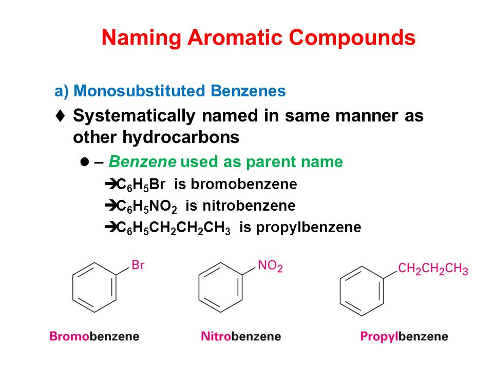 Naming Aromatic Compounds a) Monosubstituted Benzenes Systematically named in same manner as other hydrocarbons – Benzene used as parent name C 6 H 5 Br is bromobenzene C 6 H 5 NO 2 is nitrobenzene C 6 H 5 CH 2 CH 2 CH 3 is propylbenzene