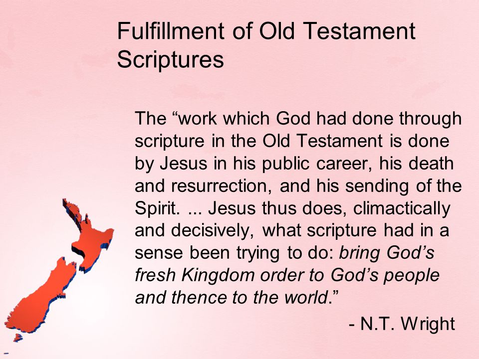 Fulfillment of Old Testament Scriptures The work which God had done through scripture in the Old Testament is done by Jesus in his public career, his