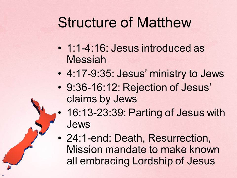 Structure of Matthew 1:1-4:16: Jesus introduced as Messiah 4:17-9:35: Jesus ministry to Jews 9:36-16:12: Rejection of Jesus claims by Jews 16:13-23:39