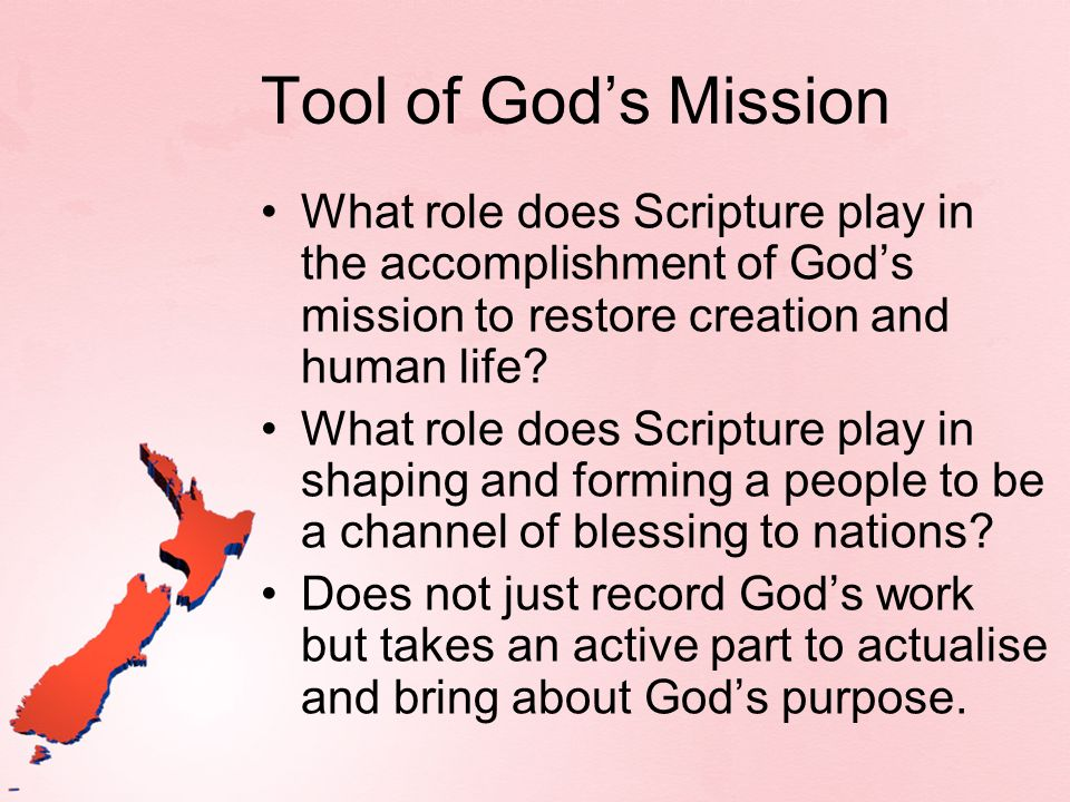 Gods self-revelation is always to be understood within the category of Gods mission to the world, Gods saving sovereignty let loose through Jesus and the Spirit and aimed at the healing and renewal of the creation.