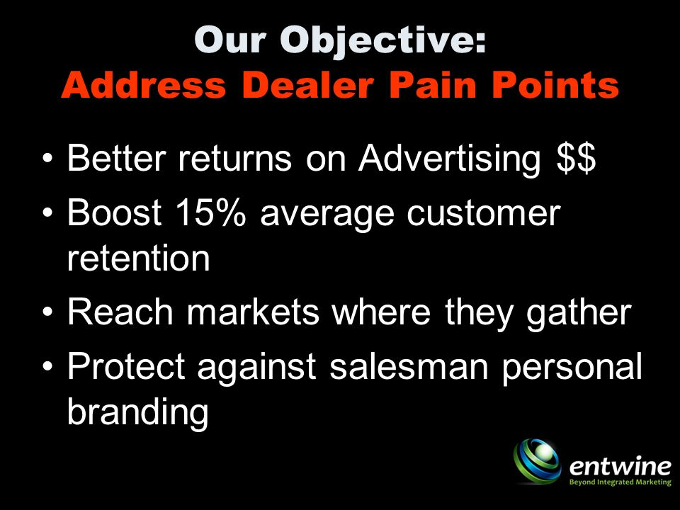 Our Objective: Address Dealer Pain Points Better returns on Advertising $$ Boost 15% average customer retention Reach markets where they gather Protect against salesman personal branding
