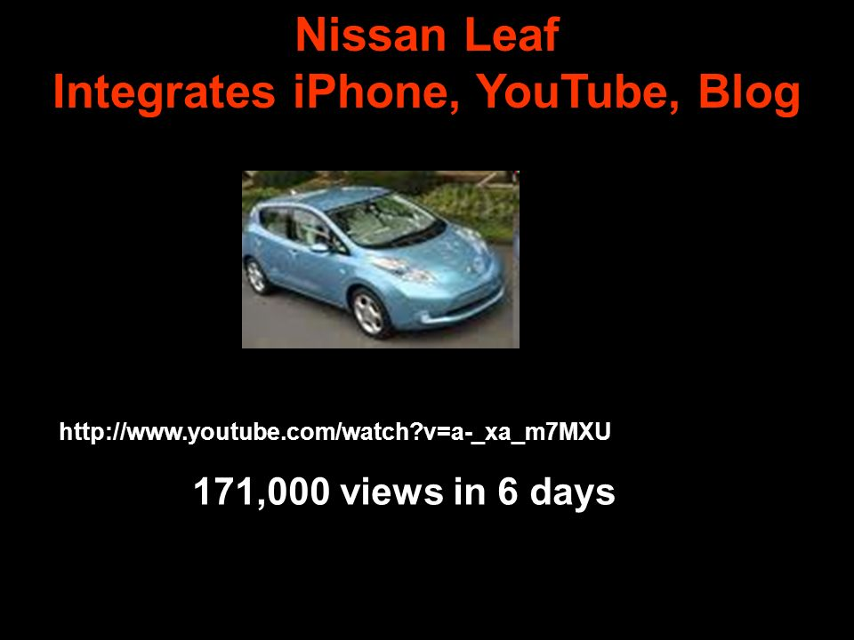 Nissan Leaf Integrates iPhone, YouTube, Blog http://www.youtube.com/watch v=a-_xa_m7MXU 171,000 views in 6 days