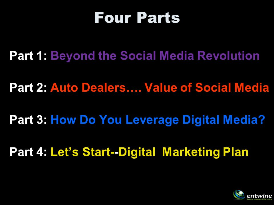 Four Parts Part 1: Beyond the Social Media Revolution Part 2: Auto Dealers….