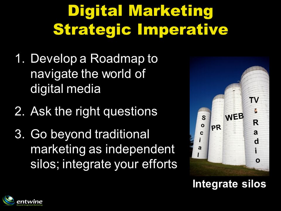 Digital Marketing Strategic Imperative 1.Develop a Roadmap to navigate the world of digital media 2.Ask the right questions 3.Go beyond traditional marketing as independent silos; integrate your efforts PR WEB TV RadioRadio SocialSocial Integrate silos