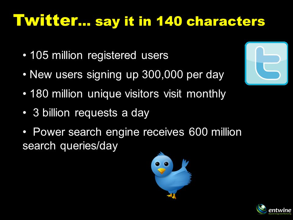 Twitter … say it in 140 characters 105 million registered users New users signing up 300,000 per day 180 million unique visitors visit monthly 3 billion requests a day Power search engine receives 600 million search queries/day