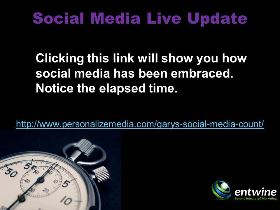 Social Media Live Update http://www.personalizemedia.com/garys-social-media-count/ Clicking this link will show you how social media has been embraced.