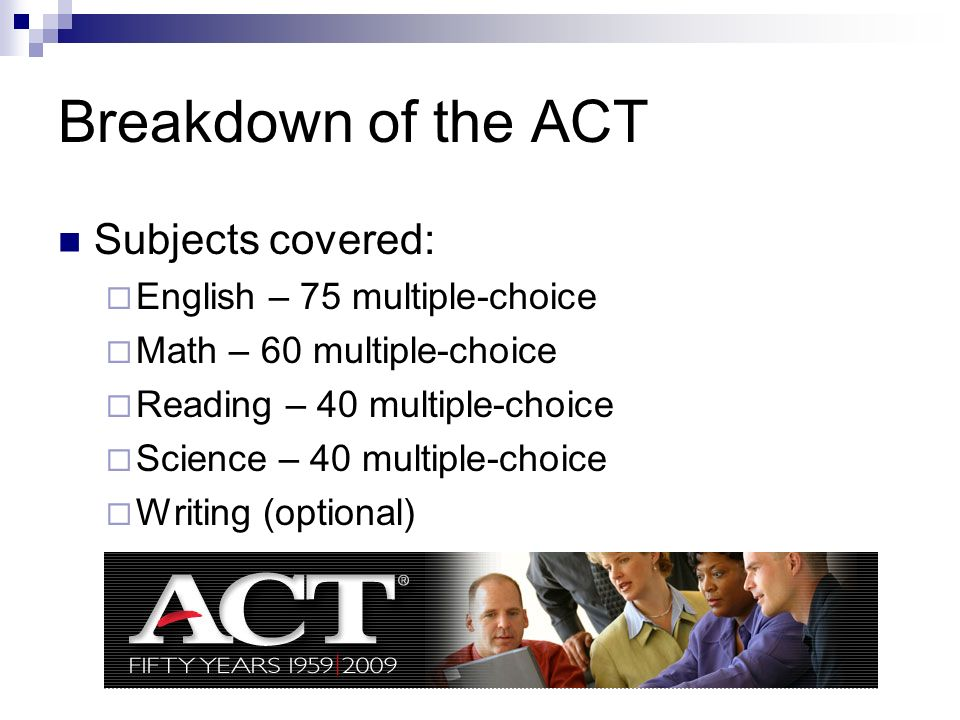 Breakdown of the ACT Subjects covered: English – 75 multiple-choice Math – 60 multiple-choice Reading – 40 multiple-choice Science – 40 multiple-choic