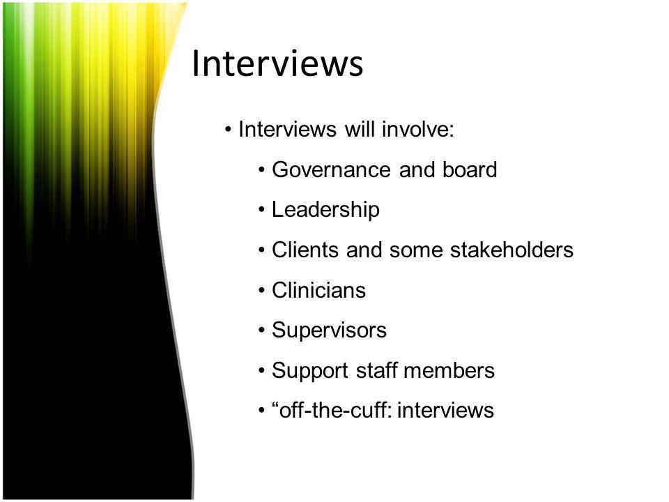 Interviews Interviews will involve: Governance and board Leadership Clients and some stakeholders Clinicians Supervisors Support staff members off-the